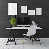 3d modern computer workplace Royalty Free Stock Photography