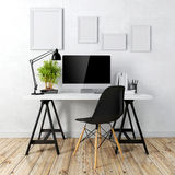 3d modern computer workplace Stock Photography