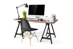 3d modern computer workplace Royalty Free Stock Image
