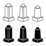 3d modern concrete bollard black symbols Stock Image