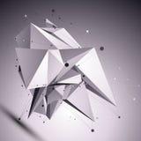 3D modern cybernetic abstrakt bakgrund, futuristisk tem för origami Royaltyfri Bild