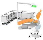 3d modern dental chair, furniture and light Royalty Free Stock Photo