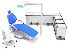 3d modern dental chair, furniture and light Royalty Free Stock Photos