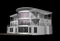 3D modern die huis op zwarte wordt geïsoleerd Stock Foto