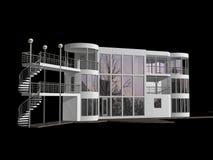 3D modern die huis op zwarte wordt geïsoleerd Royalty-vrije Stock Afbeelding