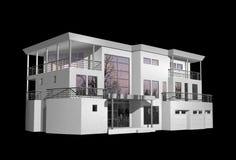 3D modern die huis op zwarte wordt geïsoleerd Stock Fotografie