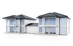 3d modern duplex houses. On white background 3D illustration stock images