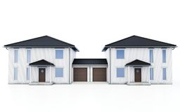 3d modern duplex houses. On white background 3D illustration stock illustration