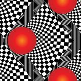 3d modern geometric checkered seamless pattern. Vector abstract striped zigzag ornament. Red 3d circles on the black and white background. Optical illusion stock illustration