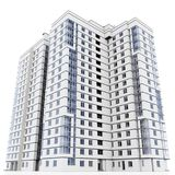 3d modern high rise building. On white background 3D illustration royalty free illustration