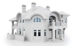 3d modern house, generic white. 3d white modern house on white background 3D illustration stock illustration