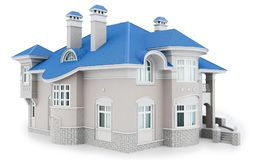 3d modern house with blue roof. 3d modern house on white background 3D illustration Stock Images