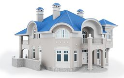 3d modern house with blue roof. 3d modern house on white background 3D illustration stock illustration