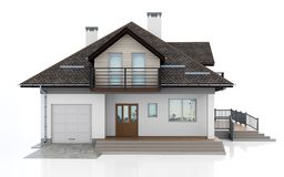 3d modern house. On white background 3D illustration stock illustration