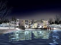 3D modern huis door een meer in de winter Royalty-vrije Stock Foto's