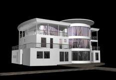 3D modern huis op zwarte Stock Foto