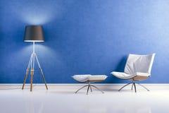 3d modern interior design with blue wall. 3d modern clean interior design with blue wall royalty free illustration