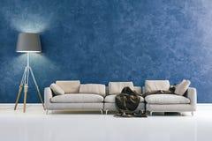 3d modern interior design with blue wall. 3d modern clean interior design with blue wall stock illustration
