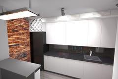 3D modern keukenontwerp Royalty-vrije Stock Afbeeldingen