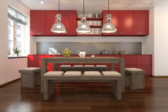 3D - modern kitchen 02 Royalty Free Stock Photo