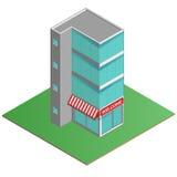 3D modern kontorsbyggnad, affärsmitt i den isometriska projektionen Arkivbilder