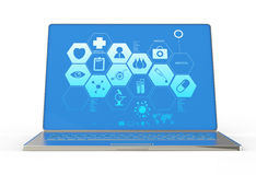 3d modern laptop computer and medical interface Royalty Free Stock Photos
