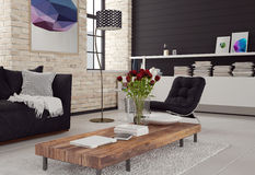 3d Modern living room interior. In black and white decor with textured brick walls, a sofa and chair around a wooden coffee table and cabinet with books Stock Images