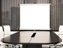 3D Modern meeting room with blank projector screen. Mockup. 3d illustration modern meeting room with blank projector screen. Mockup Royalty Free Stock Photos
