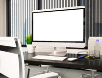 3D Modern office with blank computer screen. Mockup Stock Photos
