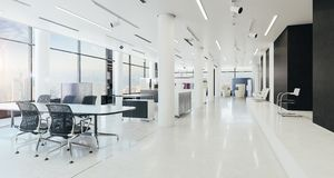 3d modern office space interior render stock photography