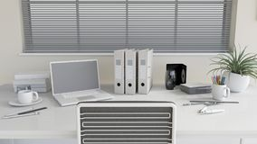 3D modern office work desk Stock Photos