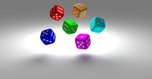 3d modern six colorful dice vector illustration