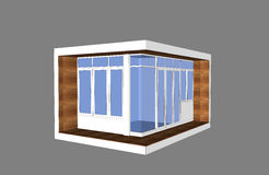 3D modern style pavillion. With glass box facade Royalty Free Stock Images