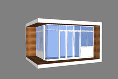 3D modern style pavillion. With glass box facade Royalty Free Stock Photography