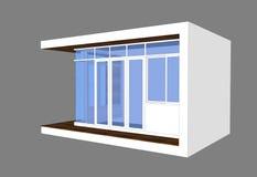 3D modern style pavillion. With glass box facade Stock Photos