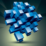 3D modern stylish abstract construction, blue facet object constructed from different geometric parts Stock Photography