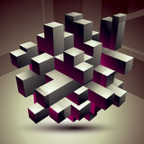 3D modern stylish abstract construction, origami facet object co Royalty Free Stock Photos
