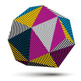 3D modern stylish abstract stripy construction, origami facet ve. Ctor object constructed from different geometric parts Royalty Free Stock Image