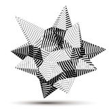 3D modern stylish abstract stripy vector construction, origami f. Acet object constructed from different geometric parts vector illustration