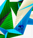 3d modern triangle low poly abstract geometric vector. 3d modern triangle low poly abstract shape, geometric vector Royalty Free Stock Photos
