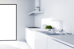 3d modern white kitchen Royalty Free Stock Photography