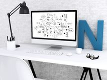 3d Modern workspace and computer with chemestry sketch. 3D illustration. Modern workspace and computer with chemestry sketch. Education concept Royalty Free Stock Photography