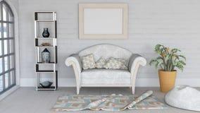 3D modern zitkamerbinnenland met eigentijds meubilair stock illustratie