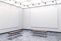 3d moderne binnenlandse galerij met wit muren en canvas stock illustratie