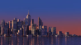 3D moderne stad op water Royalty-vrije Stock Foto's