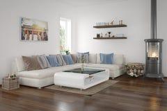 3d - moderne woonkamer Stock Afbeelding