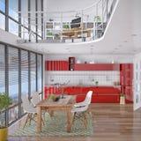 3d - moderne zolder met galerij, het dineren gebied, keuken Stock Fotografie