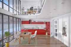 3d - moderner Dachboden mit Galerie, Speiseraum, Küche Stockfotos