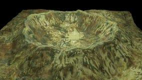 3d modernos rinden el cráter con nieve y la superficie verde, ésta en el pedazo de tierra, contexto generado por ordenador stock de ilustración