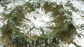 3d modernos rinden el cráter con nieve y la superficie verde, ésta en el pedazo de tierra, contexto generado por ordenador libre illustration